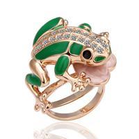 2014 18k Gold punk rings for women vintage Elegant crystal fashion Personality Frog Engagement Ring
