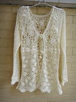 Ivory Women Open Cardigan Sweater Handmade Crochet Blouse Top Long Sleeve