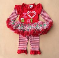 Free shipping children clothing girls princess Christmas i love santa dress long sleeves TUTU dress red  leggings rare editions