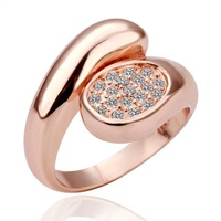 New Hot 2014 Fashion Romatic Love Ring for Women Engagement Gift Austrian Crystal Luxury Rings 18KGP Rose gold Plated