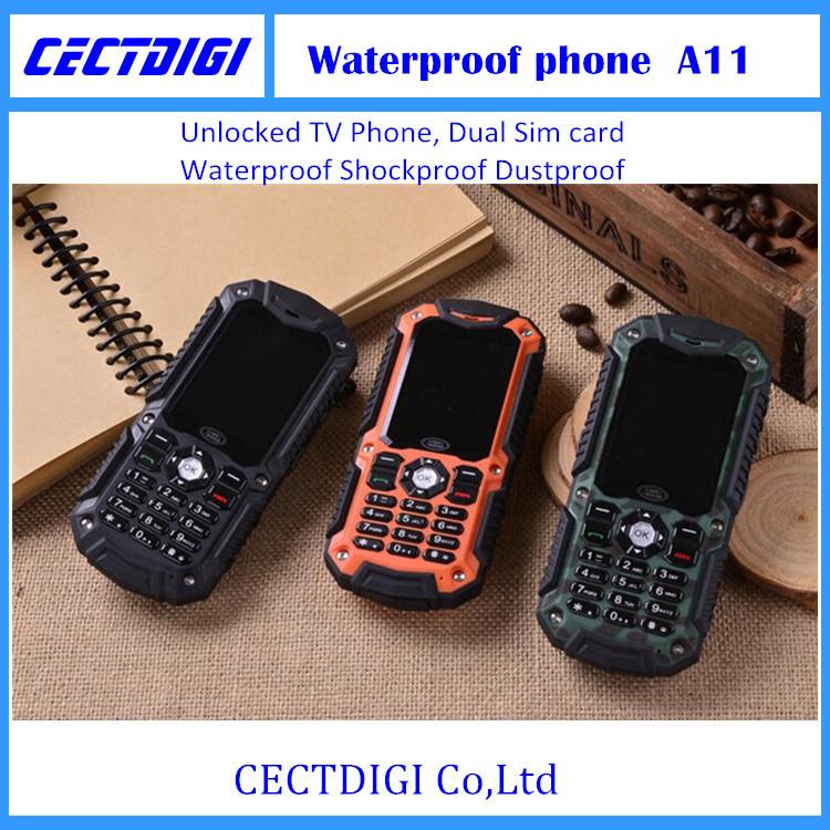 A11 Waterproof Shockproof Dustproof Mobile Phone Walkie-talkie Unlocked TV Phone Dual Sim card Car phone cheap phone(China (Mainland))