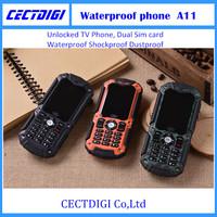 A11 Waterproof Shockproof Dustproof Mobile Phone Walkie-talkie  Unlocked TV Phone Dual Sim card  Car phone cheap phone