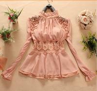 2014 New Autumn Women blouse wood ear collar stitching lace chiffon blouse long-sleeved chiffon shirt Slim sweet tops