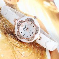 Fashion Causual Sun Flower Rhinestone Women Quartz Watches with Plastic Band