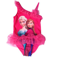 fhree shipping  new style  girls frozen princess swimsuit one pieces,children's swimsuit one pieces