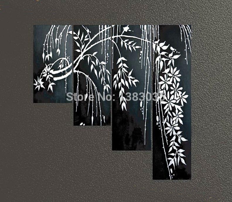 pintados à mão preto e branco pintura abstrata galho de árvore flor 4 parte da arte da lona parede moderna decoração conjunto imagem(China (Mainland))