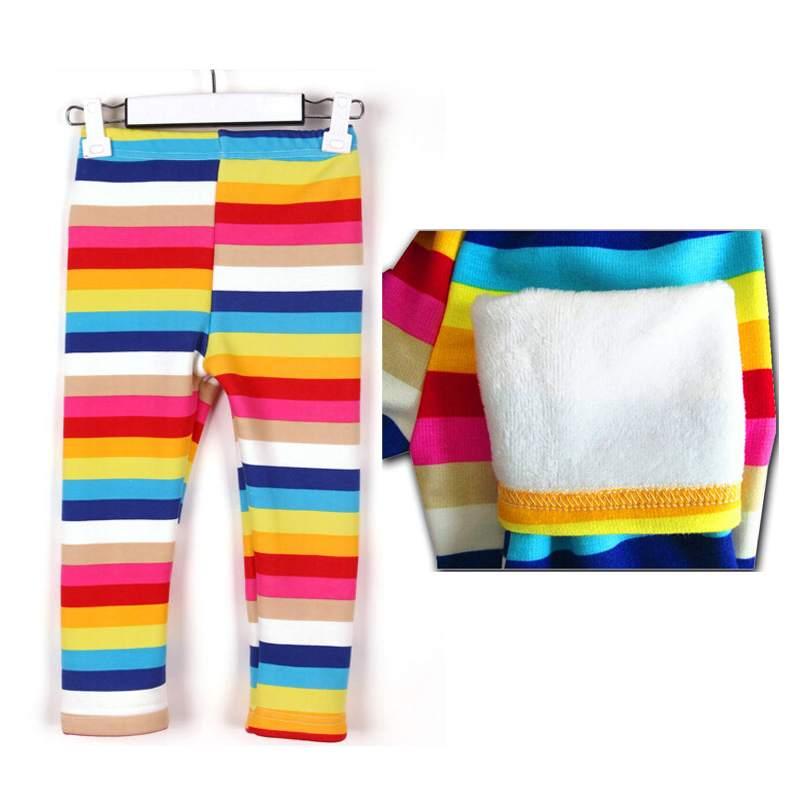 Children s Clothing Winter Warm Rainbow Color Trousers Baby Kids Pants Girls Leggings Children Wear