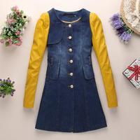 Plus size winter coats women 2014 korean slim long denim jeans jacket patchwork pu leather sleeve jacket thin coat Nora10547