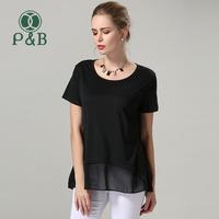 L-5XL 2014 Summer Slim Black Chiffon And Cotton Casual Blouses&Shirts Plus Size Women Blouse