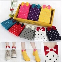 meias sock 2014 Hot Women Socks Casual cartoon candy color 100% Cotton 20 Pieces=10 pairs/ Lot body Dot Multicolor Fashion Socks