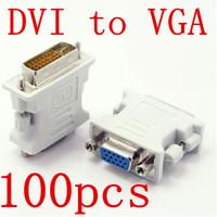 100pcs DVI-I Male 24+5 Pin to VGA Female M/F Video Converter Adapter LCD HDTV