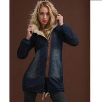 Coats for women long winter coat korean vintage slim thick fleece fur coat oversized hooded denim jeans jackets women Nora60546