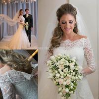 Vestidos De Noiva 2014 romantic Appliques Lace Wedding Dresses Vintage Long Sleeves A Line Bridal Gown beach wedding gowns