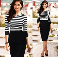 2014 New Autumn Hot Selling streak mosaic corset dress pencil party  dresses