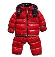 2pcs Set New style kid's winter children's / baby down coat set boys girl winter down jackets + pants red black white