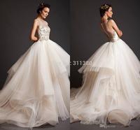 Fashion Red Krikor Jabotian Wedding Dresses 2014 Ball Gown Sheer Crew Appliques Pleat Court Train Crew bridal Wedding Dress