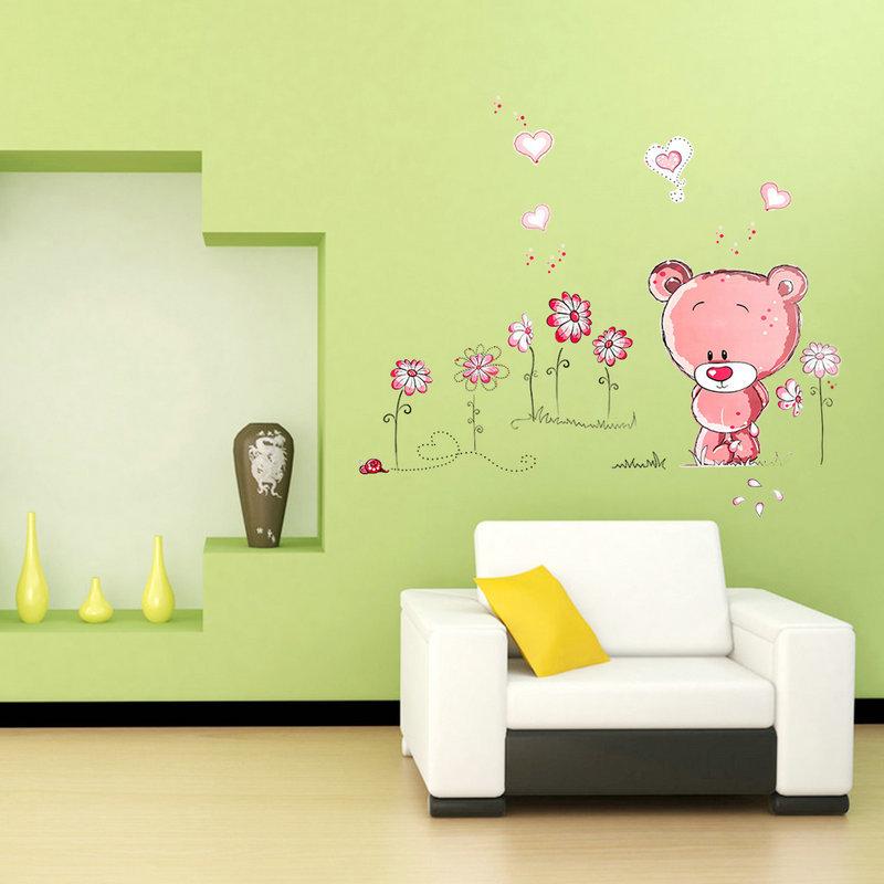 Hot-sales Pink Bear Nursery Girl Baby Kids Children Art Decal Wall Sticker Bedroom Docor made your room wonderful(China (Mainland))
