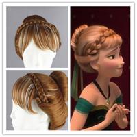 Fashion Frozen Snow Anna Style Coronation Cosplay Wig Bun Cos Wig Hair