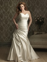 2014Latest new arrival Sweetheart A-line back Lace up with pleat all over satin pretty White/Ivory long Plus Size Wedding Dress