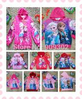 2014 New Fall jackets for girls Frozen Long-sleeved hooded jacket 4 Sizes frozen coat kids 20pcs