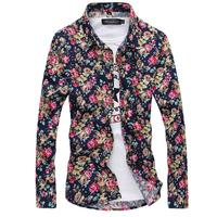 7 Colors M-2XL Natural Cotton Men Floral Shirts Men's Flowers Shirt Printed Long Sleeve shirts Slim Fit Camisa Masculina AX873