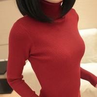 2014 Winter 8 Color Casual Women Sweater Warm Turtleneck Botomming Knitwear Slim OL Pullovers Ladies Tops YLS14916X