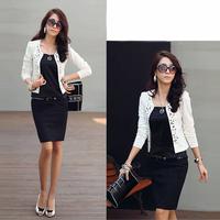 [Unbeatable At $X.99]Spring Autumn Women Suit Jacket Rhinestone Rivet Office OL Long Sleeve Thin Short Coat Blazer 25JE3118