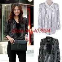summer new Korean bow round ladies fashion women's chiffon shirt blouse SV001000-D3