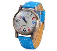 New Design Circular Dial Women Wristwatches Leather Band Quartz Wrist Watch Arabic Numeral Hour Marks Girl Watch