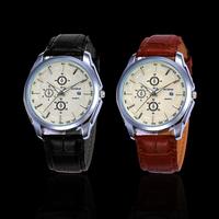 Fantastic High Quality Men Round Dial Leather Strap Date Watch Quartz Watches Feida