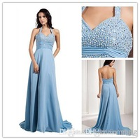 Best selling Blue Halter New List  Beaded Bodice Chiffon Prom Dress A-Line Sexy Prom Gown 2014