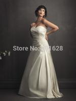 2014Gorgeous Sweetheart A-line back lace upAppliques Floor-Length Taffeta elegant White/Ivory long Plus Size Wedding Dresses