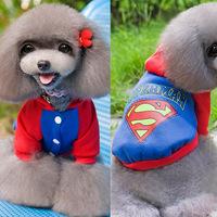 Super Man Print Dog Pet Hoodie Sweatshirt Puppy Cat Cotton Warm Clothes