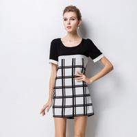 2014 Europe station plus size women's new summer black and white plaid print dress Slim