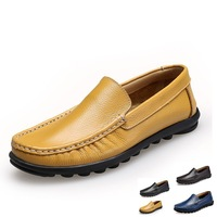 Handcrafted size 6.5~13 Genuine leather men Flats Casual driving shoes,Soft leather men shoes,Hecrafted brand shoes