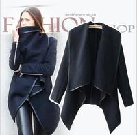 hot Women Zipper PU Warm Long Coat Jacket Trench Windbreaker Parka Outwear