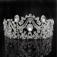 Free Shipping Princess Luxurious Crystal Large Tiara Bridal Wedding Hair Accessories Imitation Gemstone Jewelry