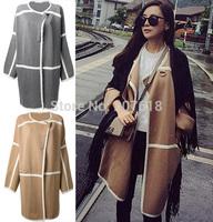 Elegant 2014 New Korean Plus Size Women knitted Cardigan Lapel Long Wool Coat Autumn Winter Outerwear