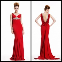 Free Shipping Sexy V Neck A Line Backless Prom Dresses Red Chiffon Floor Length With Beads For Evening Gowns