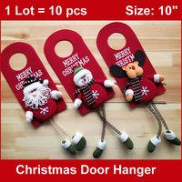 3pcs MERRY CHRISTMAS Door Hangers 10 inch, Plush Santa Dolls, Felt Plate with Stuffed Santa Claus Snowman Reindeer FREESHIPPING
