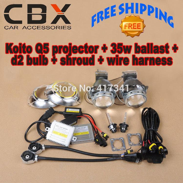 Car Headlight Hid Bi Xenon Projector Lens Kits Koito Q5 35W D2 HID Xenon Bulb Fast