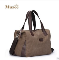 MUZEE Brand men's Vintage cotton canvas&leather messenger bags large travel bag Business desigual Handbag shoulderbagFreeshiping