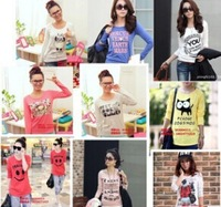 2014 wholesale new style  fashion Girl Popular women's clothing elastic Ladies' printed round neck long sleeve T-shirt