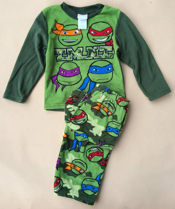 1 Sets / lot new 2014 baby boys girls Teenage Mutant Ninja Turtles t-shirt t shirts pants cartoon suits costumes children kids(China (Mainland))
