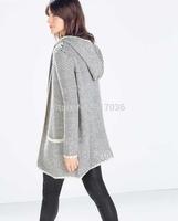 Female piebold line long cardigan sweater hooded