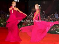 Attractive A-Line Chiffon Celebrity Dresses 2014 Halter Sash Long Ribbon Special Occsion Dresses
