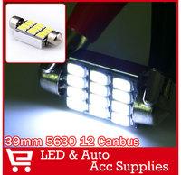 10 x White 39MM 12SMD 5630 CANBUS Error Free Festoon Map LED Light Roof Bulb 12V Xenon White Reading Lamp