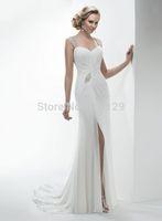 vestido de noiva 2014 Fashionable New Beaded Backless Chiffon Side Slit Formal Long White Wedding Dress