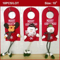 "10PCS Christmas Ornaments 10"", MERRY CHRISTMAS Words on Felt Plate, with Stuffed Santa Claus Snowman Reindeer WHOLESALE"