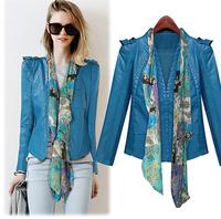 New Desigual Leather jacket Women 2014 autumn slim leather coat PU motorcycle jacket ladies blue outwear